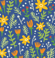 Blue background seamless pattern with colorful