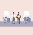 boss welcoming new job vacancy employee with stuff vector image