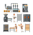 bread production icon set vector image