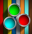 buckets of paint on the wooden floor vector image