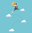 businessman jumping on Cloud Growth concept vector image vector image
