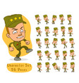 cartoon army soldier boy big set for animation vector image vector image
