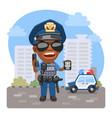 cartoon policeman on street vector image