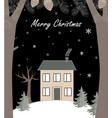 cartoon winter landscape with house and snow hill vector image vector image