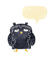 cartoon wise old owl with speech bubble vector image vector image