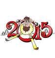 Chinese symbol lovely lamb 2015 year vector image vector image