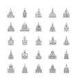 church icons set outline style vector image vector image