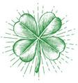 clover with four leaf - vintage engraved vector image vector image