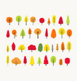 colorful tree collection autumn greeting vector image vector image