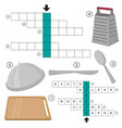 crossword kitchenware and cooking equipment vector image