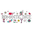 dating word concepts banner with love icons vector image vector image