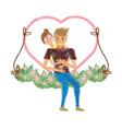 drawing couple love embracing in swing floral vector image
