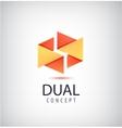 dual concept logo origami 2 parts icon vector image