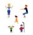 flat boy girl kids adult man woman sports vector image vector image