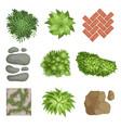flat set of landscape elements green vector image