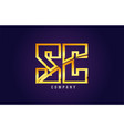 gold golden alphabet letter sc s c logo vector image