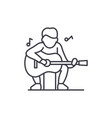 guitar player line icon concept guitar player vector image