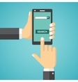 Hand holding phone with search field on the screen vector image