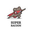 logo super raccoon simple mascot style vector image
