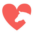 love horse silhouette in symbol red heart vector image vector image