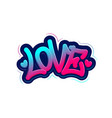 love tag graffiti style label lettering vector image vector image