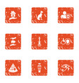 medical insurance policy icons set grunge style vector image