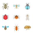 Order of insects icons set cartoon style vector image vector image
