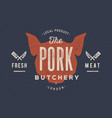 pig pork vintage typography lettering retro vector image