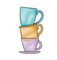 porcelain cup stack colored crayon silhouette vector image vector image