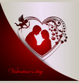 red white background with silhouette of heart with vector image vector image