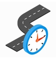 Road and clock icon isometric 3d style vector image vector image