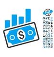 Sales Bar Chart Flat Icon With Bonus vector image vector image