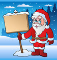 scene with santa claus and board vector image vector image