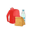 school backpack with paper lunch bag and bottle of vector image vector image