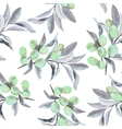 Seamless pattern of olive branch in watercolor vector image vector image