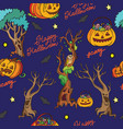 seamless pattern with pumpkins and halloween theme vector image vector image