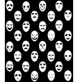 seamless white ghost mask pattern vector image vector image