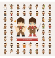 Set of businessman characters poses eps10 vector image