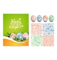 Set of Easter card folk seamless pattern and vector image vector image