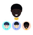 Set of icons with faces of boys vector image vector image