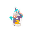 sitting unicorn character with box of donuts vector image vector image