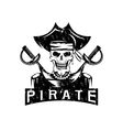 skull captain pirate in hat with swords grunge vector image vector image