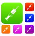 syringe set color collection vector image vector image