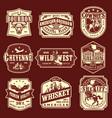 vintage wild west monochrome emblems set vector image vector image