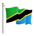 waving tanzania flag isolated on a white vector image vector image