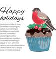 winter bird christmas color se vector image