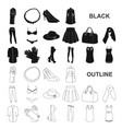women clothing black icons in set collection for vector image vector image
