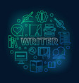 writer colored round linear vector image vector image