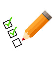 checklist and red pencil tick icons check mark vector image