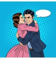 Embracing Young Couple in Love Pop Art vector image
